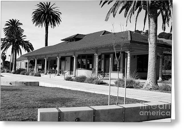 Niles Depot Museum Greeting Cards - Historic Niles District in California Near Fremont . Niles Depot Museum and Town Plaza.7D10717.bw Greeting Card by Wingsdomain Art and Photography