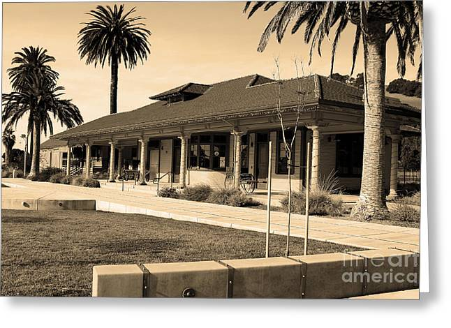Niles Depot Museum Greeting Cards - Historic Niles District in California Near Fremont . Niles Depot Museum and Town Plaza.7D10717.sepia Greeting Card by Wingsdomain Art and Photography