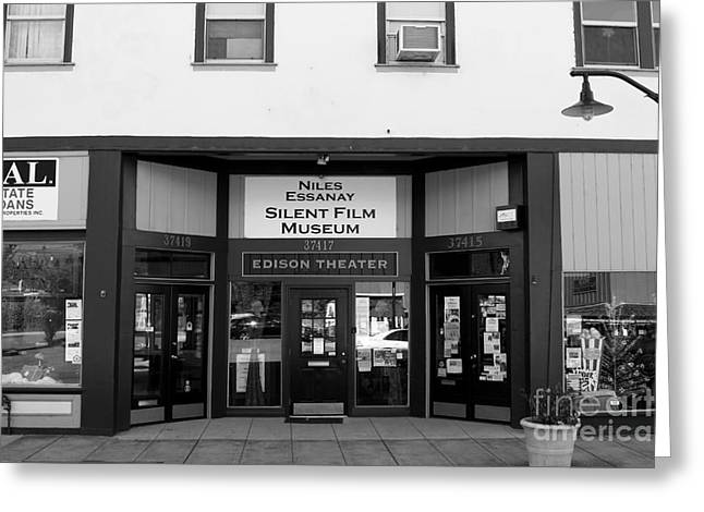 Historic Niles District In California Near Fremont . Niles Essanay Silent Film Museum . 7d10683 Bw Greeting Card by Wingsdomain Art and Photography