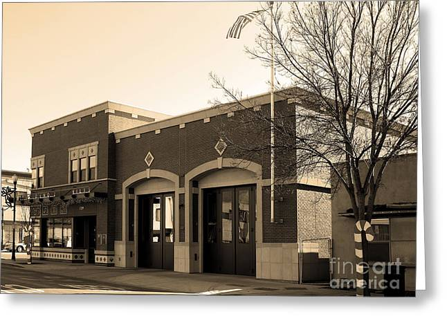 Historic Niles District In California Near Fremont . Niles Fire Station Number 2 . 7d10732 . Sepia Greeting Card by Wingsdomain Art and Photography