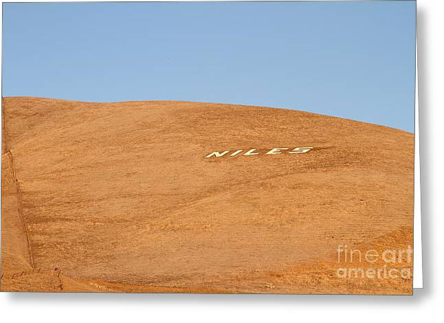 Historic Niles District In California Near Fremont . Niles Letters On Hill . 7d10604 Greeting Card by Wingsdomain Art and Photography