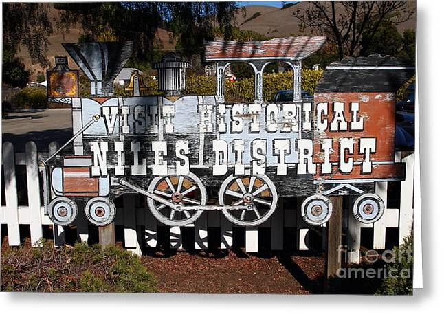 Historic Niles District In California Near Fremont . Visit Historical Niles District Sign . 7d10653 Greeting Card by Wingsdomain Art and Photography
