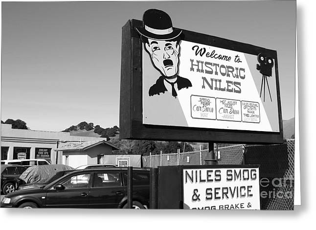 Historic Niles District In California Near Fremont . Welcome To Niles Sign . 7d10603 . Bw Greeting Card by Wingsdomain Art and Photography