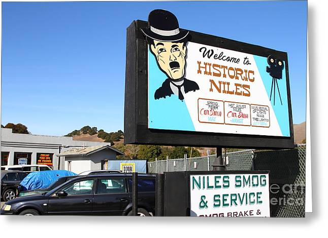 Niles Canyon Railway Greeting Cards - Historic Niles District in California Near Fremont . Welcome To Niles Sign . 7D10603 Greeting Card by Wingsdomain Art and Photography