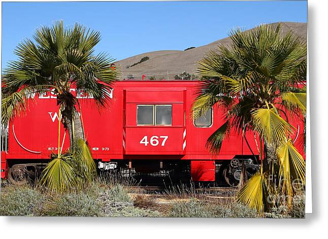 Long Street Greeting Cards - Historic Niles District in California Near Fremont . Western Pacific Caboose Train . 7D10614 Greeting Card by Wingsdomain Art and Photography