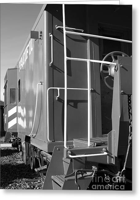 Old Caboose Greeting Cards - Historic Niles District in California Near Fremont . Western Pacific Caboose Train . 7D10622 . bw Greeting Card by Wingsdomain Art and Photography