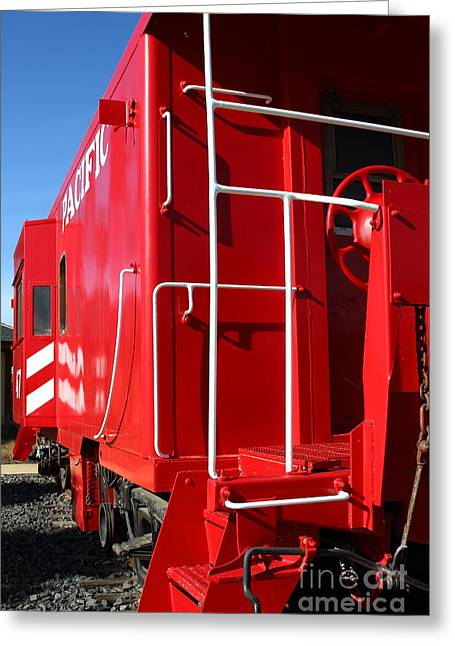 Old Cabooses Greeting Cards - Historic Niles District in California Near Fremont . Western Pacific Caboose Train . 7D10622 Greeting Card by Wingsdomain Art and Photography