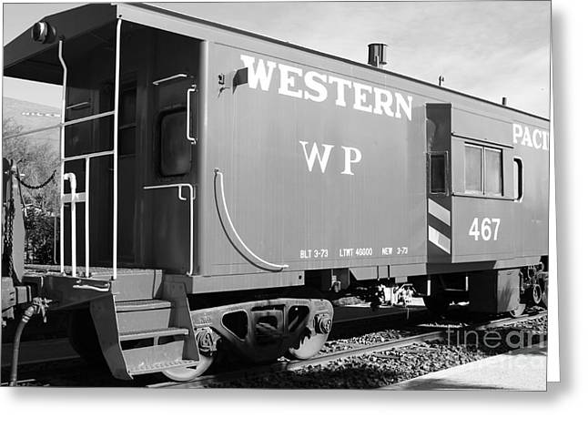 Old Caboose Greeting Cards - Historic Niles District in California Near Fremont . Western Pacific Caboose Train . 7D10627 . bw Greeting Card by Wingsdomain Art and Photography