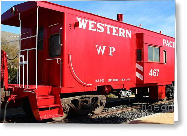 Old Cabooses Greeting Cards - Historic Niles District in California Near Fremont . Western Pacific Caboose Train . 7D10627 Greeting Card by Wingsdomain Art and Photography