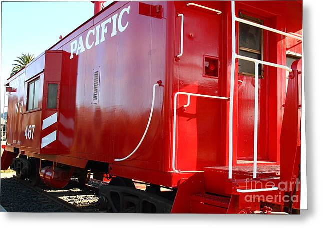 Old Caboose Greeting Cards - Historic Niles District in California Near Fremont . Western Pacific Caboose Train . 7D10720 Greeting Card by Wingsdomain Art and Photography
