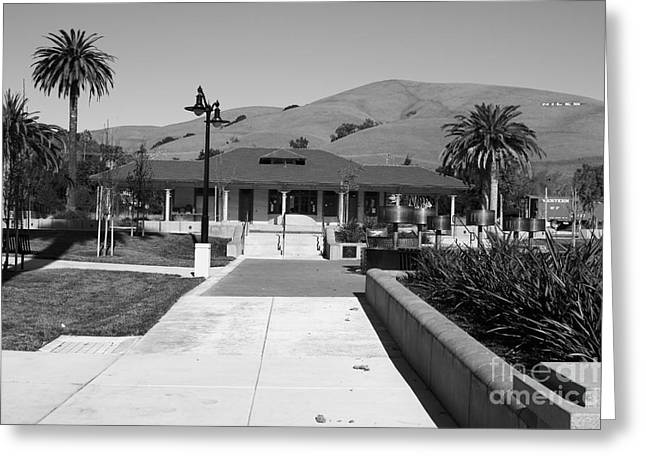 Niles Depot Museum Greeting Cards - Historic Niles District in California Near Fremont.Niles Depot Museum and Town Plaza.7D10697.bw Greeting Card by Wingsdomain Art and Photography