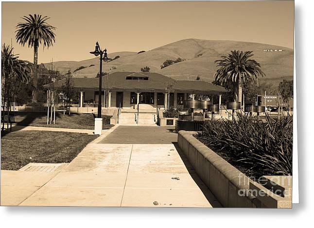 Niles Depot Museum Greeting Cards - Historic Niles District in California Near Fremont.Niles Depot Museum and Town Plaza.7D10697.sepia Greeting Card by Wingsdomain Art and Photography
