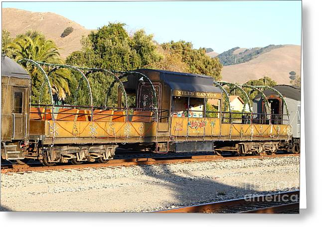 Old Cabooses Greeting Cards - Historic Niles Trains in California . Old Niles Canyon Train . 7D10840 Greeting Card by Wingsdomain Art and Photography