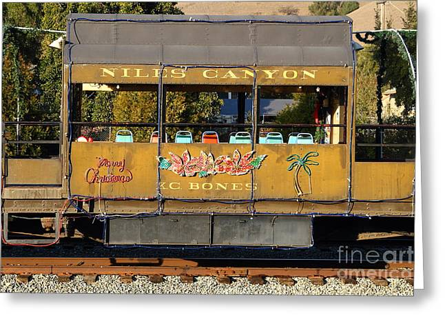Niles Canyon Greeting Cards - Historic Niles Trains in California . Old Niles Canyon Train . 7D10844 Greeting Card by Wingsdomain Art and Photography