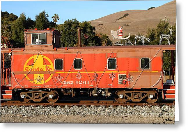Sante Fe Caboose Greeting Cards - Historic Niles Trains in California . Old Sante Fe Caboose . 7D10832 Greeting Card by Wingsdomain Art and Photography