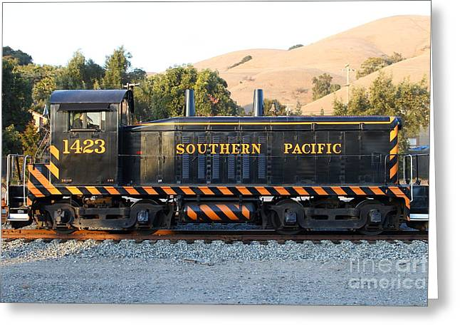Historic Niles Trains in California . Old Southern Pacific Locomotive . 7D10867 Greeting Card by Wingsdomain Art and Photography