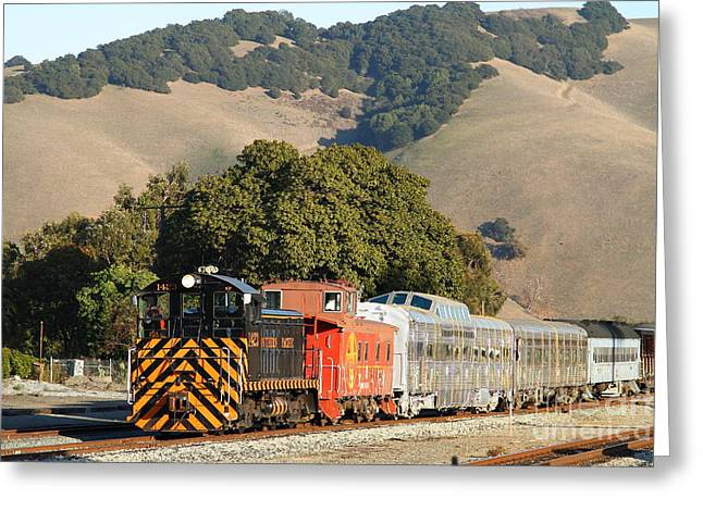 Old Cabooses Greeting Cards - Historic Niles Trains in California . Old Southern Pacific Locomotive and Sante Fe Caboose . 7D10818 Greeting Card by Wingsdomain Art and Photography
