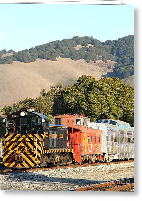 Old Cabooses Greeting Cards - Historic Niles Trains in California . Old Southern Pacific Locomotive and Sante Fe Caboose . 7D10819 Greeting Card by Wingsdomain Art and Photography