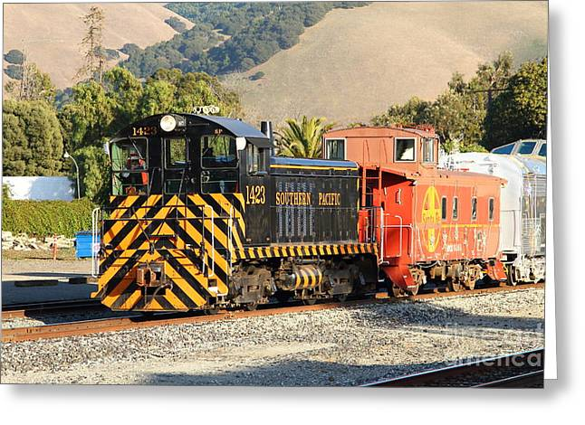 Caboose Greeting Cards - Historic Niles Trains in California . Old Southern Pacific Locomotive and Sante Fe Caboose . 7D10821 Greeting Card by Wingsdomain Art and Photography
