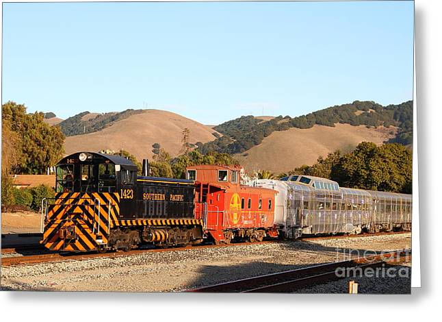 Old Cabooses Greeting Cards - Historic Niles Trains in California . Old Southern Pacific Locomotive and Sante Fe Caboose . 7D10822 Greeting Card by Wingsdomain Art and Photography