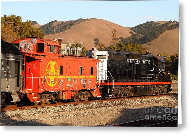 Old Cabooses Greeting Cards - Historic Niles Trains in California . Old Southern Pacific Locomotive and Sante Fe Caboose . 7D10843 Greeting Card by Wingsdomain Art and Photography