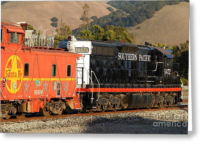 Sante Fe Caboose Greeting Cards - Historic Niles Trains in California . Old Southern Pacific Locomotive and Sante Fe Caboose . 7D10850 Greeting Card by Wingsdomain Art and Photography