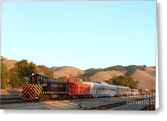 Historic Niles Trains in California . Old Southern Pacific Locomotive and Sante Fe Caboose . 7D10869 Greeting Card by Wingsdomain Art and Photography