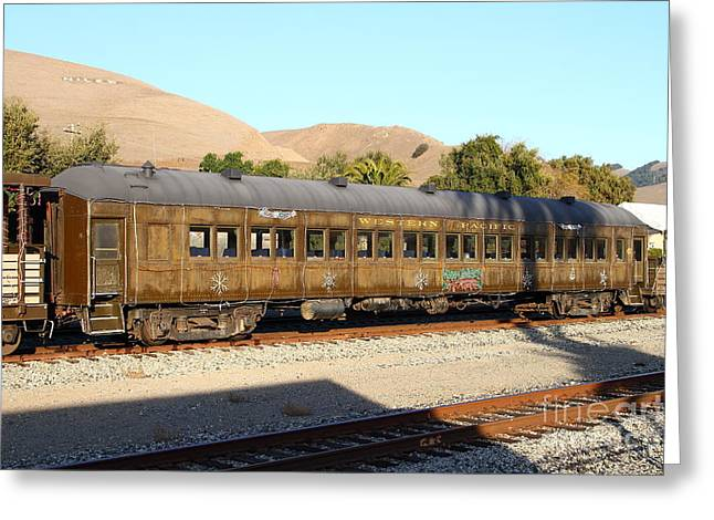 Old Cabooses Greeting Cards - Historic Niles Trains in California . Old Western Pacific Passenger Train . 7D10836 Greeting Card by Wingsdomain Art and Photography