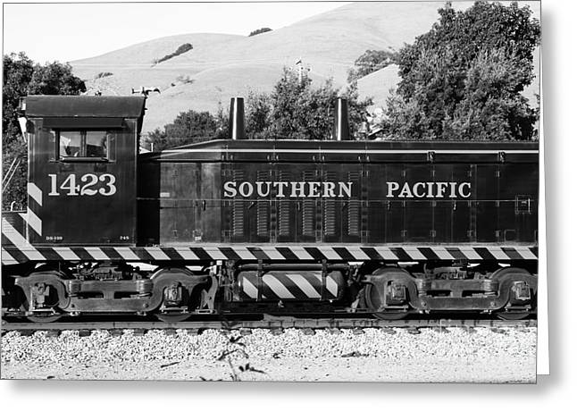 Niles Canyon Greeting Cards - Historic Niles Trains in California . Southern Pacific Locomotive . 7D10829 . bw Greeting Card by Wingsdomain Art and Photography