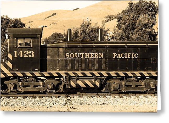 Niles Canyon Greeting Cards - Historic Niles Trains in California . Southern Pacific Locomotive . 7D10829 . sepia Greeting Card by Wingsdomain Art and Photography