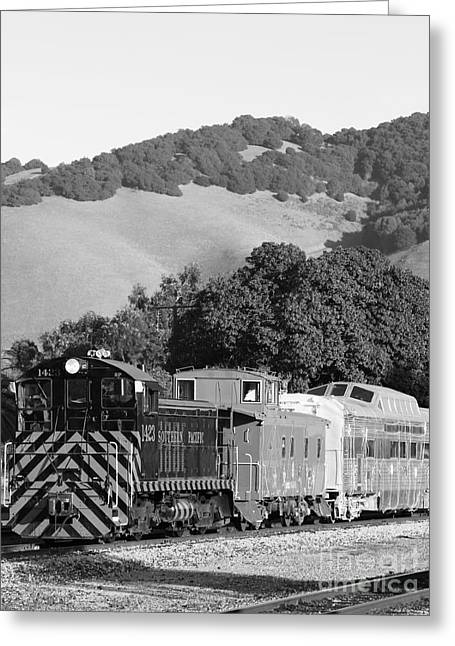 Old Cabooses Greeting Cards - Historic Niles Trains in California . Southern Pacific Locomotive and Sante Fe Caboose.7D10819.bw Greeting Card by Wingsdomain Art and Photography