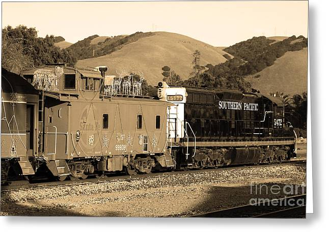 Old Cabooses Greeting Cards - Historic Niles Trains in California.Southern Pacific Locomotive and Sante Fe Caboose.7D10843.sepia Greeting Card by Wingsdomain Art and Photography