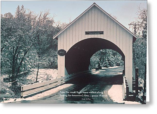 Replacing Greeting Cards - Historic Old Wimer Bridge Greeting Card by Mick Anderson