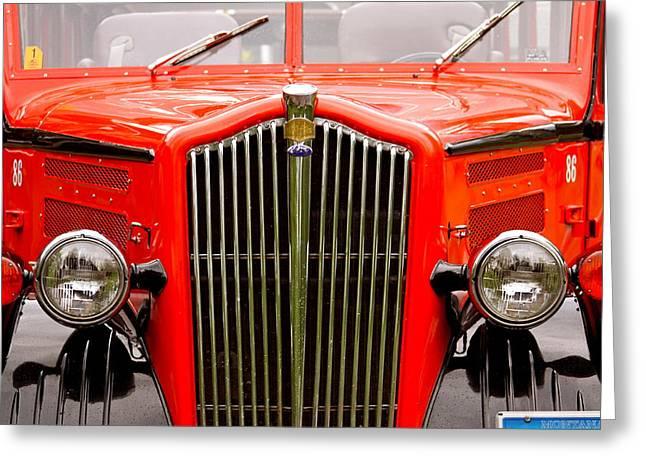 Historic Red Jammer Bus Glacier National Park Greeting Card by Karon Melillo DeVega