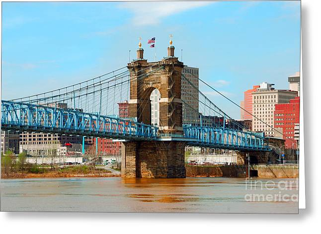 Old Roadway Greeting Cards - Historic Roebling Suspension Bridge Cincinnati Ohio USA Greeting Card by Anne Kitzman