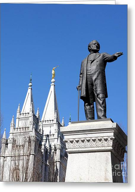 Historic Salt Lake Mormon Lds Temple And Brigham Young Greeting Card by Gary Whitton