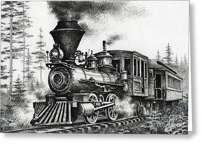 Pen And Ink Drawing Greeting Cards - Historic Steam Greeting Card by James Williamson