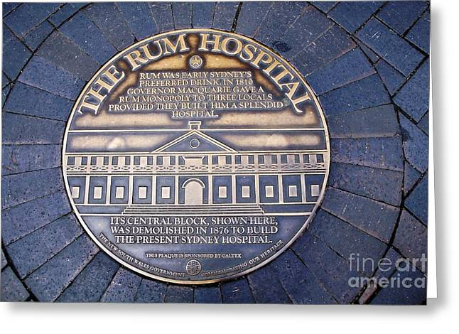 Macquarie Greeting Cards - Historic Sydney Hospital - Plaque on Sidewalk Greeting Card by Kaye Menner