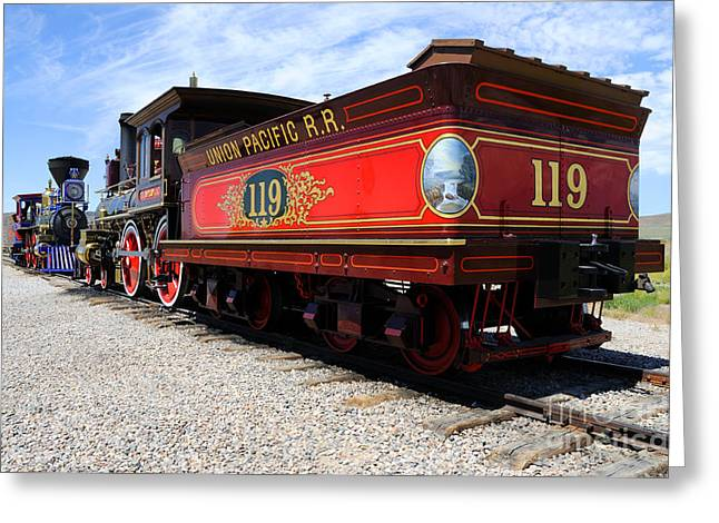 Destiny Greeting Cards - Historic Train - Promontory Point National Historic Park Greeting Card by Gary Whitton