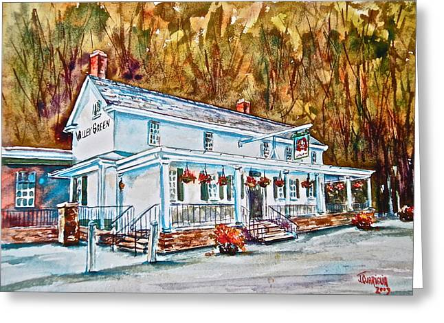 Historic Pastels Greeting Cards - Historic Valley Green Inn Greeting Card by Joyce A Guariglia