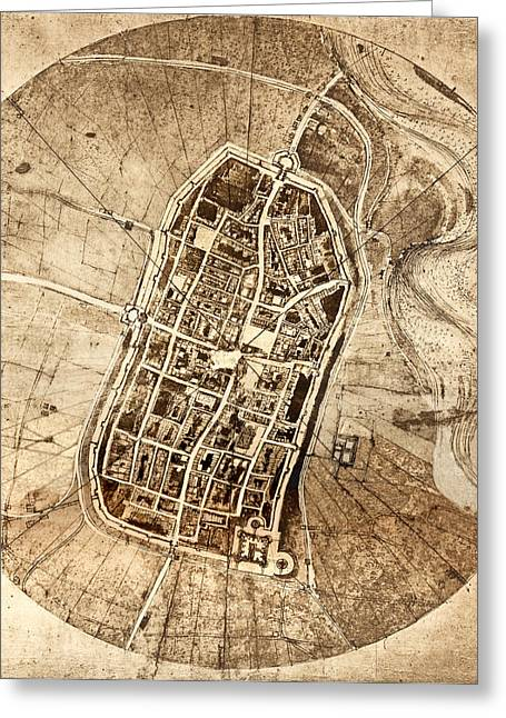 Cesare Greeting Cards - Historical City Map Of Imola, Italy Greeting Card by Sheila Terry