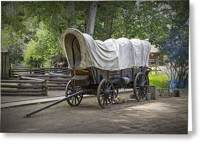Schooner Art Greeting Cards - Historical Frontier Covered Wagon Greeting Card by Randall Nyhof