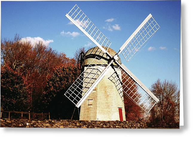 Blue Sky Canvas Greeting Cards - Historical Windmill Greeting Card by Lourry Legarde
