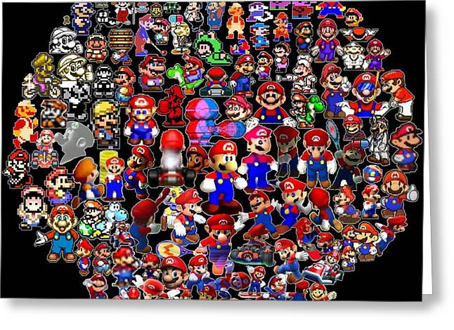 Game Digital Art Greeting Cards - History of Mario Mosaic Greeting Card by Paul Van Scott