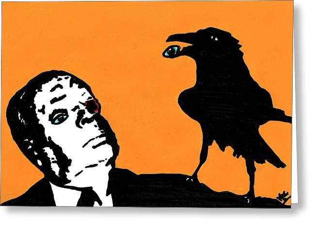 Raven Drawings Greeting Cards - Hitchcock and Raven on Orange Greeting Card by Jera Sky