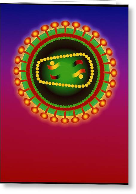 Retrovirus Greeting Cards - Hiv Viruses Greeting Card by Mehau Kulyk