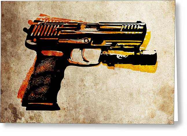 Gun Greeting Cards - HK 45 Pistol Greeting Card by Michael Tompsett