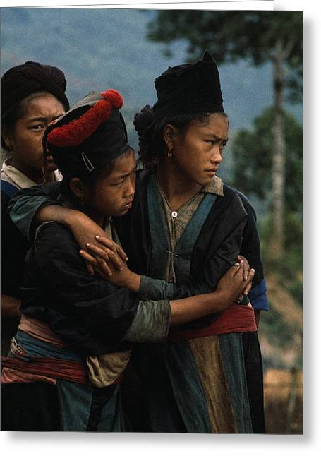 Hmong Girls Cling To Each Other Greeting Card by W.E. Garrett