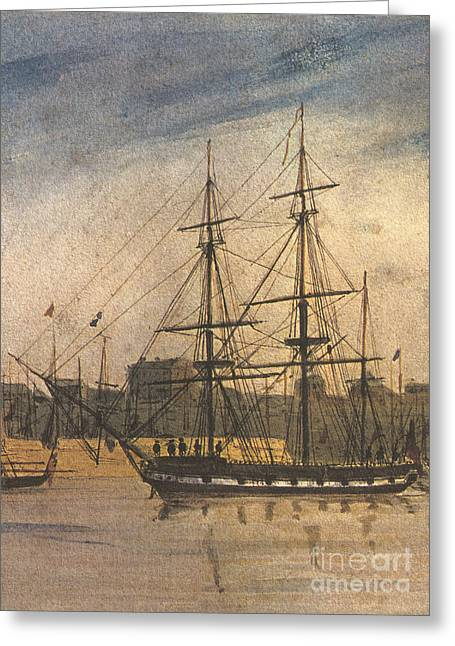 Beagle Artwork Greeting Cards - Hms Beagle, 1841 Greeting Card by Science Source