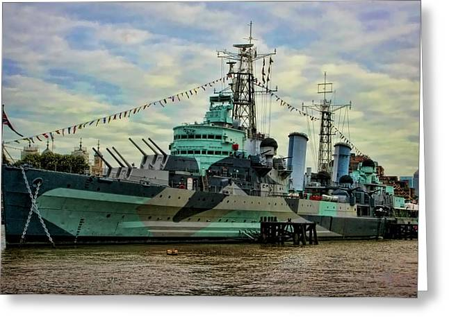 Historic Ship Greeting Cards - HMS Belfast Greeting Card by Heather Applegate